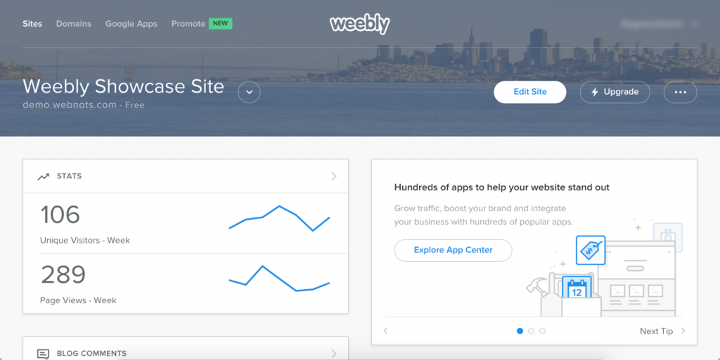 Weebly Dashboard Cards