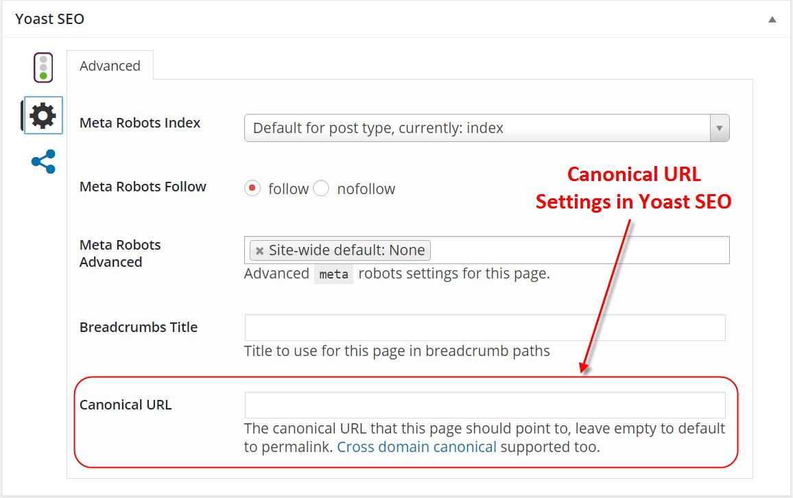 Canonical URL Settings in Yoast SEO Metabox