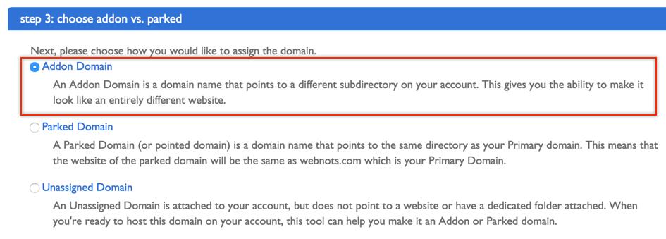 Choose Addon Domain Option