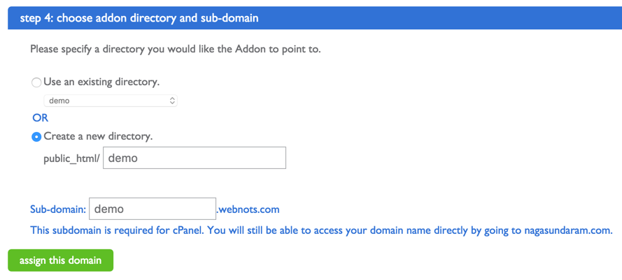 Choose Directory and Subdomain for Addon Domain