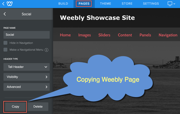Copying Weebly Page