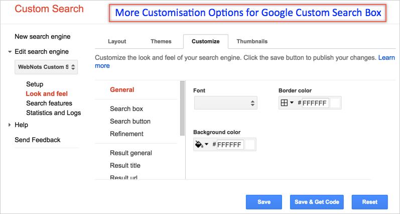 Параметры настройки для окна пользовательского поиска Google