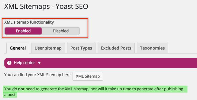 Enable XML Sitemap in Yoast WordPress SEO Plugin