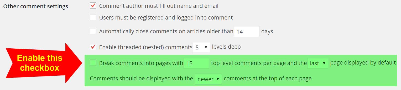 Включение комментариев с разбивкой на страницы в панели управления WordPress