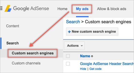 Окно поиска Google от AdSense