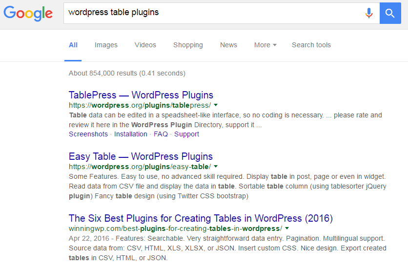 Google Search Results for WordPress Table Plugins