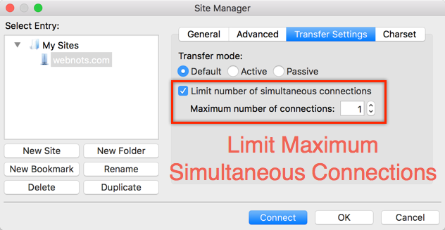 Limit Maximum Number of Connections in FileZilla