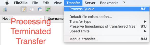 Processing Terminated File Transfer in FileZilla