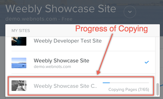 Progress of Weebly Site Copy