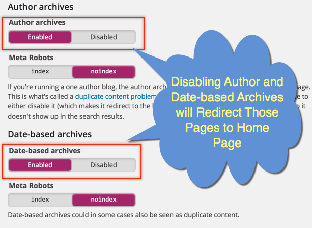 Redirect Author and Date Archives to Home Page