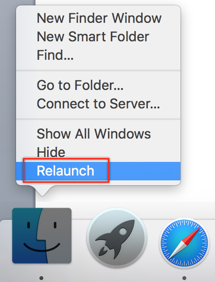 Relaunch Finder in Mac OS X