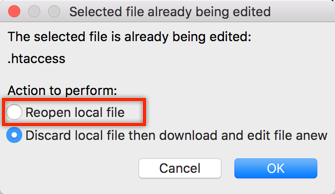 Reopen Local File for Editing in FileZilla
