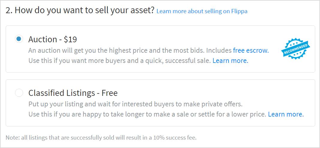 Selling Website on Flippa