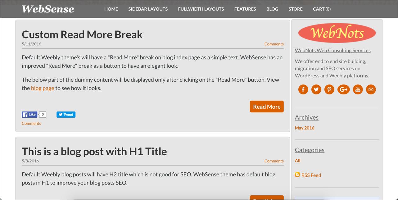 WebSense Blog Layout