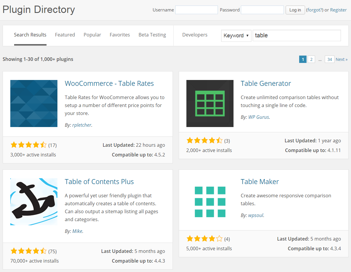 WordPress Table Plugin Search Results
