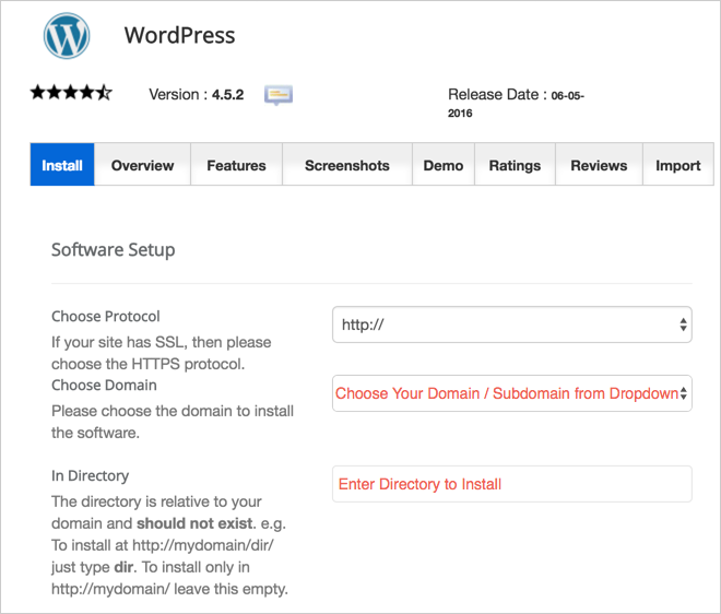 Choose Domain and Directory for WordPress Installation