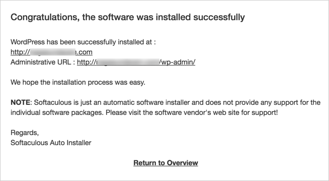 Confirmation on Successful WordPress Installation