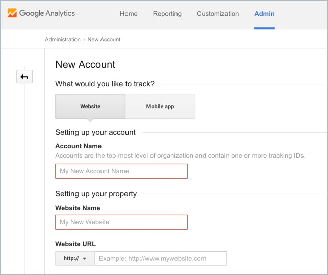 Create New Analytics Account for Website