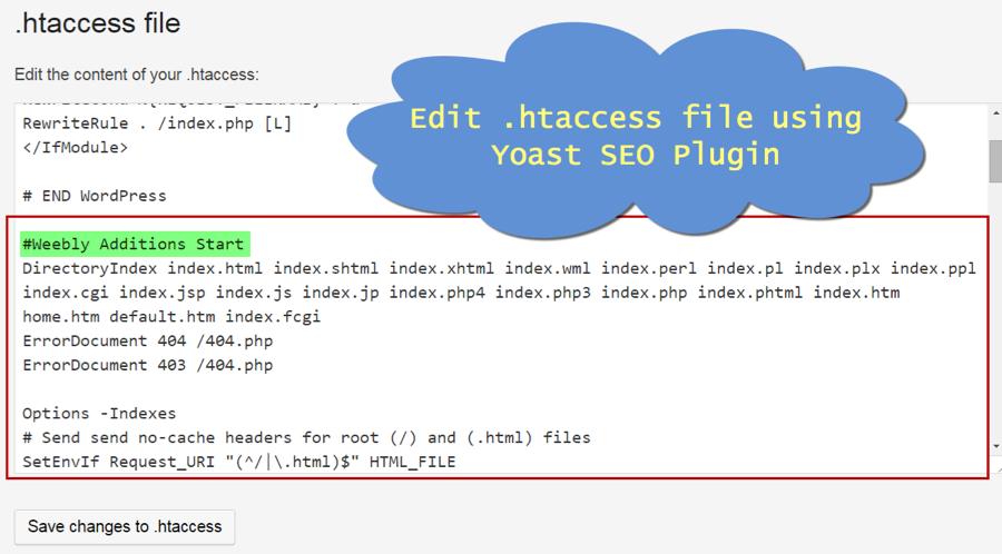 Edit .htaccess Using Yoast WordPress SEO Plugin