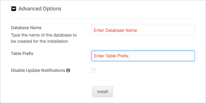 Enter Database and Table Prefix