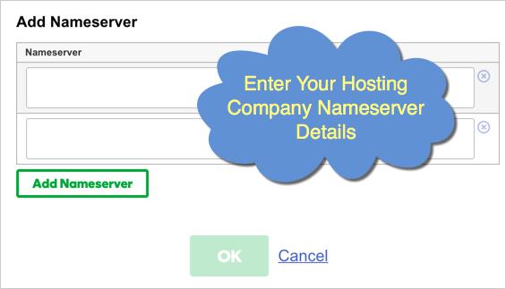Enter Hosting Company Nameservers