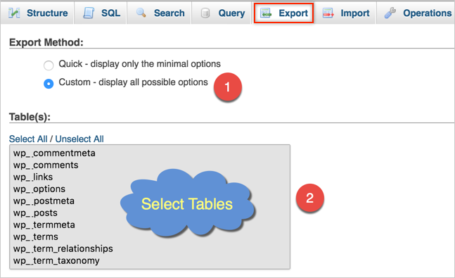 Exporting MySQL Database in WordPress