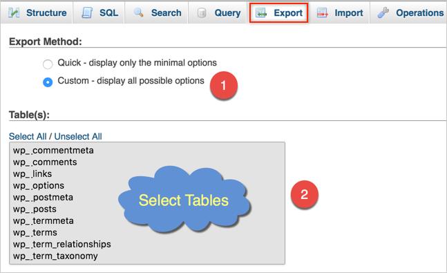 Экспорт базы данных MySQL в WordPress