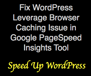 Fix WordPress Leverage Browser Caching Issue in Google PageSpeed