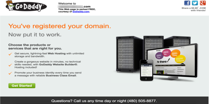 GoDaddy Parked Domain Advertisement