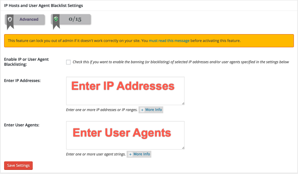 IP and User Agents Blacklist Manager