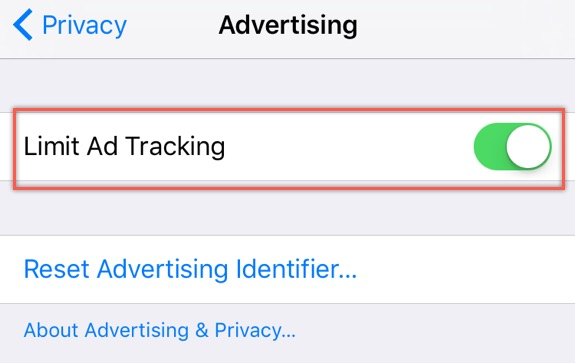 Limit Ad Tracking in iOS