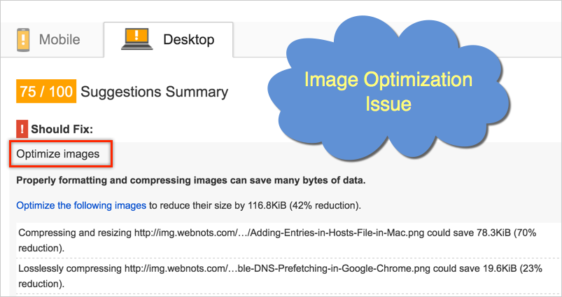 Optimize Images High Priority Issues