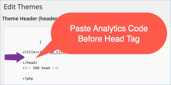 Pasting Analytics Code in PHP Header File
