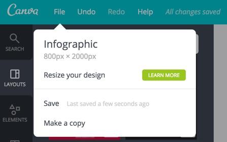 Сохранение изменений дизайна в Canva