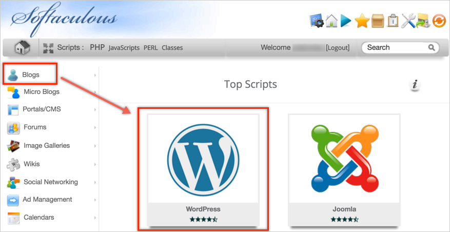WordPress Script in Softaculous Auto Installer