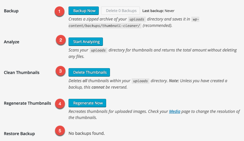 WordPress Thumbnail Cleaner Plugin Options
