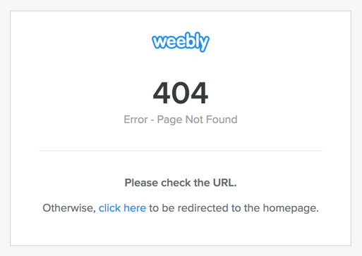 404 Error for Weebly Un-published Site