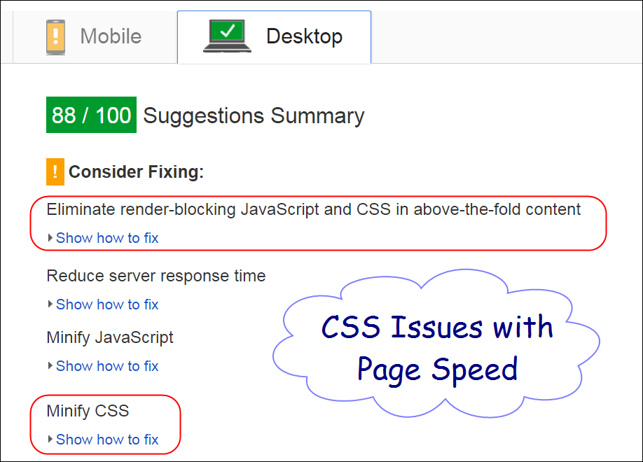 CSS Issues with Google PageSpeed
