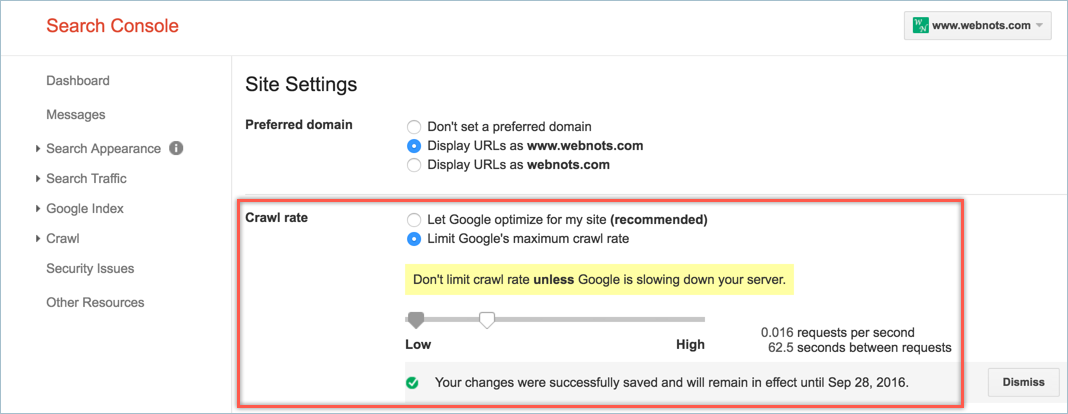 Changing Crawl Control in Google Search Console