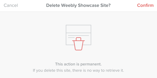 Confirm the Site Deletion