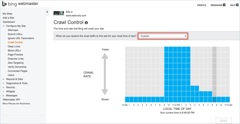 Crawl Control in Bing Webmaster Tools