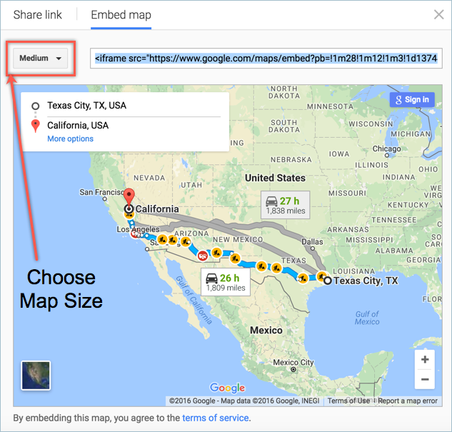 embed google map with directions