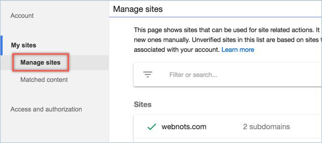 Управление веб-сайтами в учетной записи AdSense