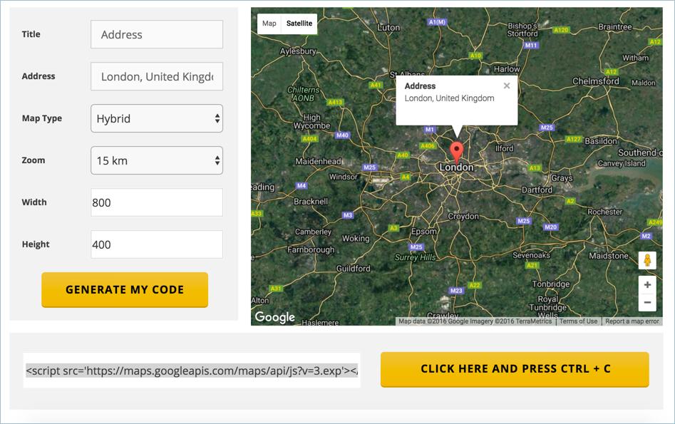 Встраивание сторонних карт Google