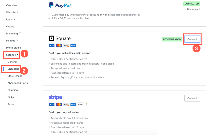 Weebly Payment Options for Checkout