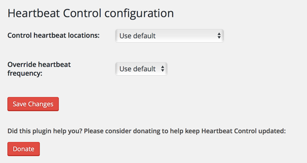 WordPress Heartbeat Control Plugin Options