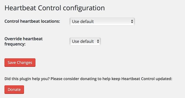 WordPress Heartbeat Control Plugin Options