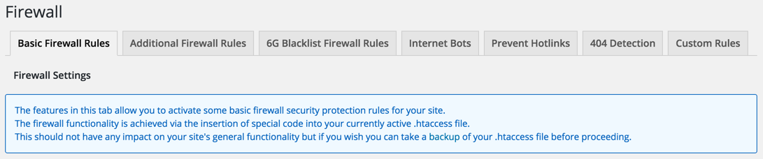 AIOWPS Plugin Firewall Settings