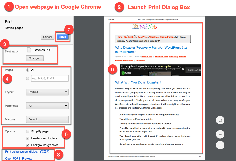 Convert Webpage to PDF in Google Chrome