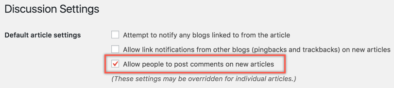 Disable Comments on New Posts